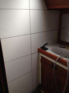 We put ceramic tiles in the bathroom.