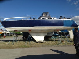 After the first sanding and cleaning of the keel.