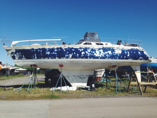 The boat after sanding and filling.