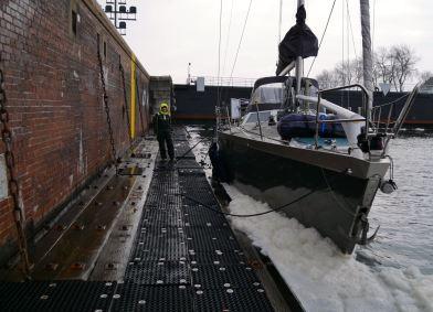 Inside the locks in the Kiel Canal