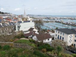 View over the harbour and the city of St. Peter Port