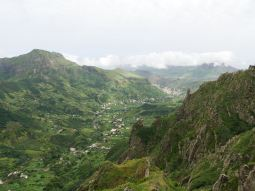 A valley in Sao Nicolau with the main city in the top