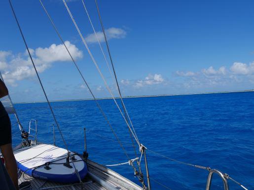 Approaching the flat island of Barbuda
