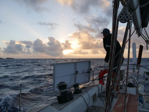 Sailing overnight from Barbuda to St. Barths.
