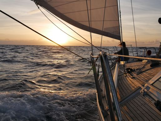Sailing to Virgin Gorda from Saint Martin.
